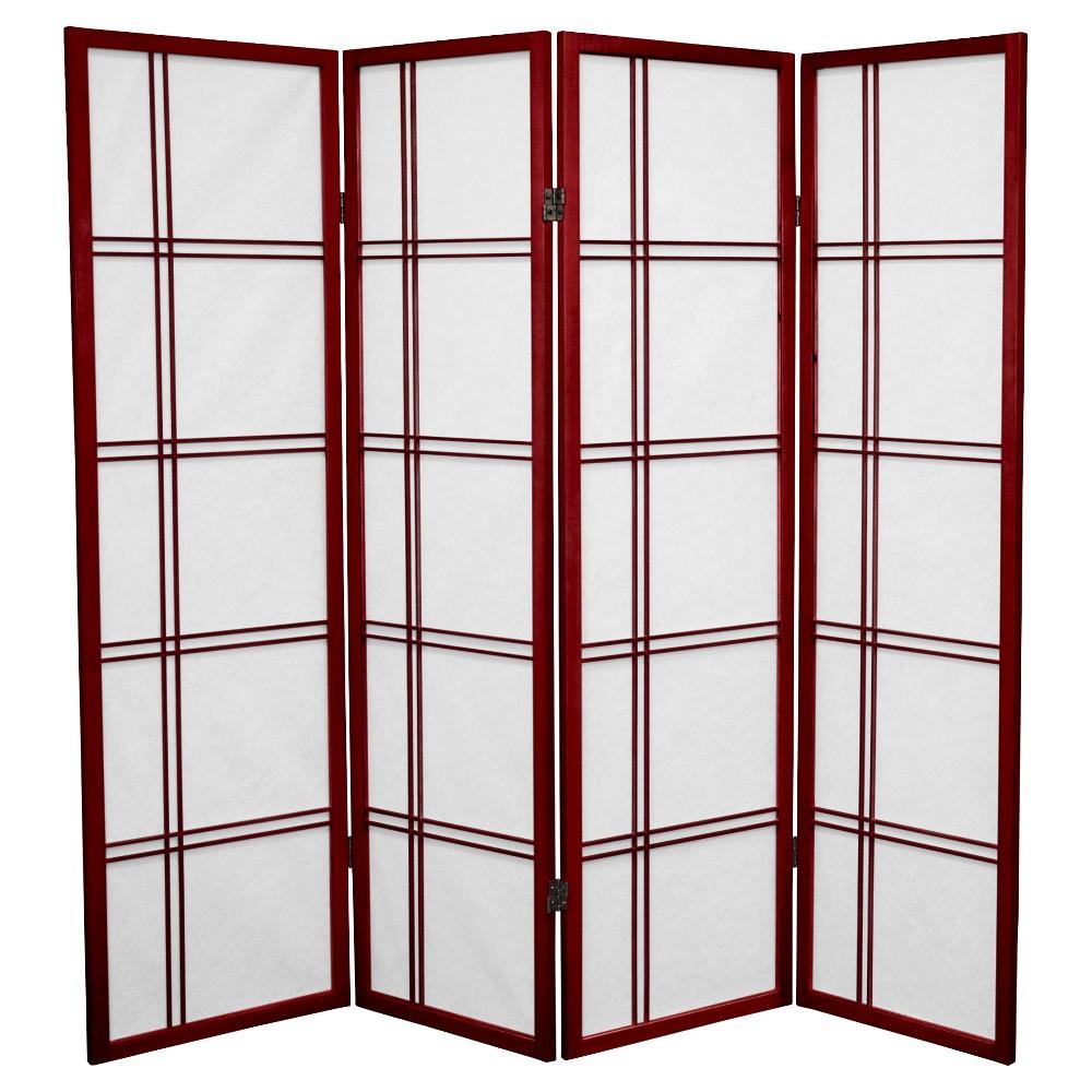 5 Ft Tall Double Cross Shoji Screen Rosewood 4 Panels Oriental Furniture