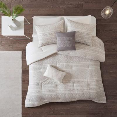 Emerson King/California King 5pc Clip Jacquard Comforter Set White/Gray