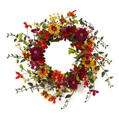 """24"""" Artificial Assorted Wild Flower Twig Wreath Yellow/Orange/Pink - Gerson International"""