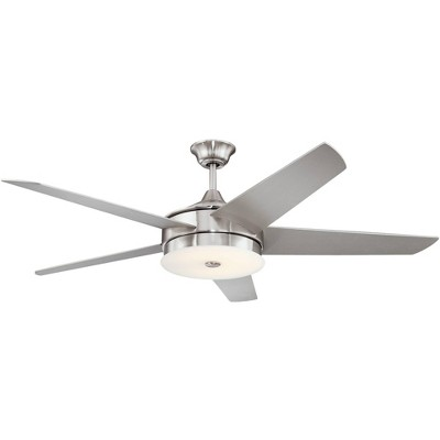 """60"""" Possini Euro Design Modern Ceiling Fan with Light LED Dimmable Remote Brushed Nickel Silver Blades Frosted Glass Living Room"""