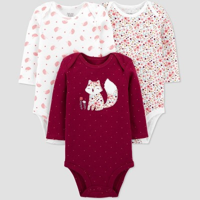 Baby Girls' 3pk Floral Long Sleeve Bodysuit - Just One You® made by carter's Burgundy 6M