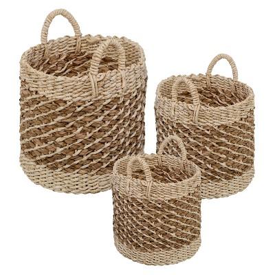 Set of 3 Round Storage Bins Light Brown - Honey-Can-Do