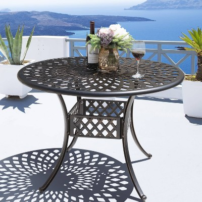 Cast Aluminum Round Dining Table - Nuu Garden