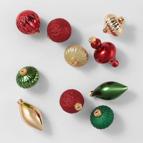 10ct Glass Ornaments Red Gold & Green - Wondershop™ - image 1 of 3