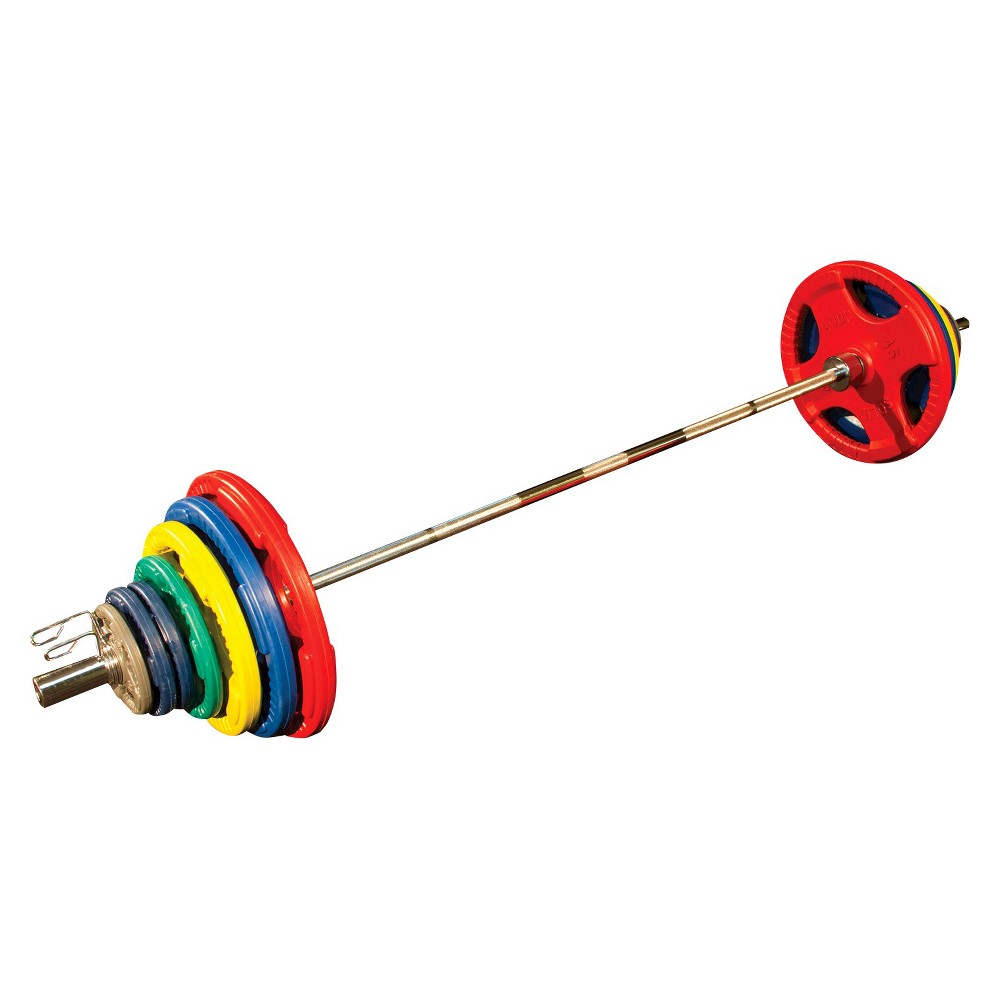 Body Solid Olympic Rubber Grip Plate Set w/7FT Olympic Bar 300LBS Colored, Multi-Colored