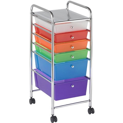 ECR4Kids 6-Drawer Plastic Mobile Organizer, Rolling Cart for Storage - Assorted Colors