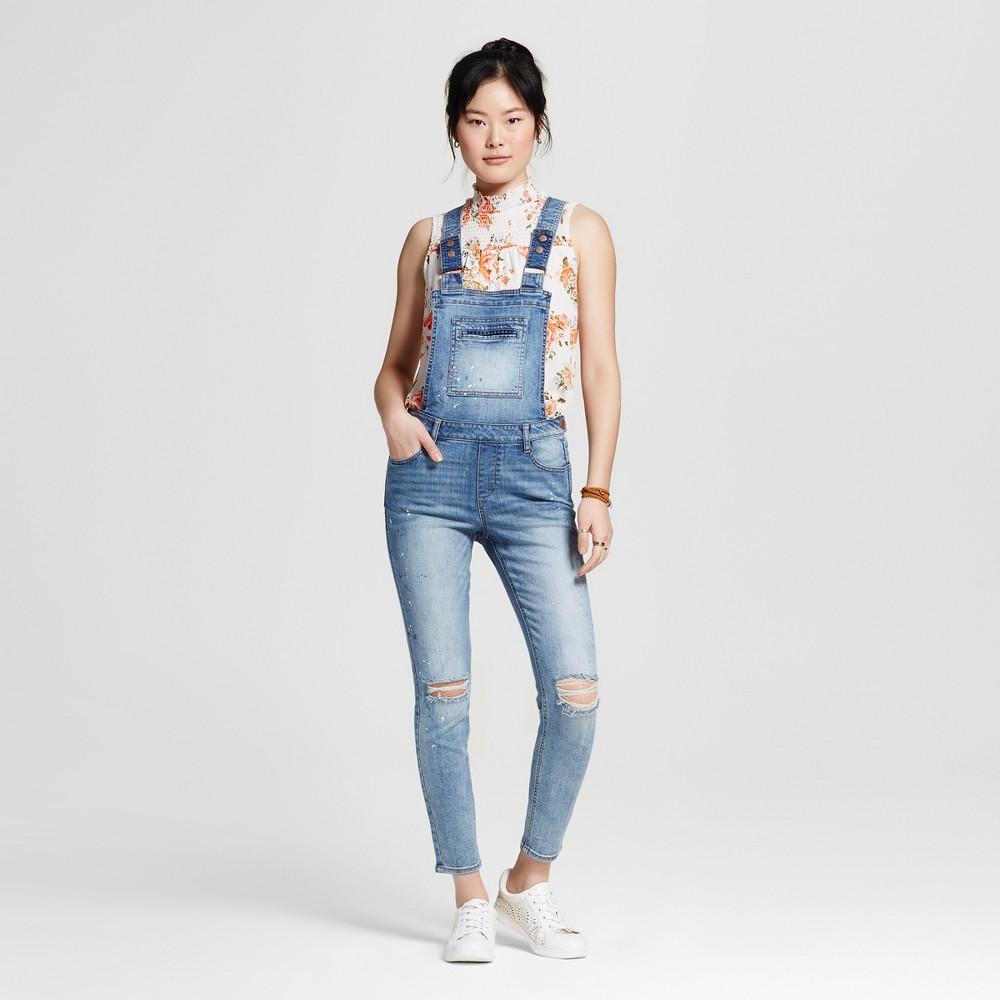 Women's Paint Splatter Destructed Skinny Denim Overalls Blue M - Dollhouse(Juniors')