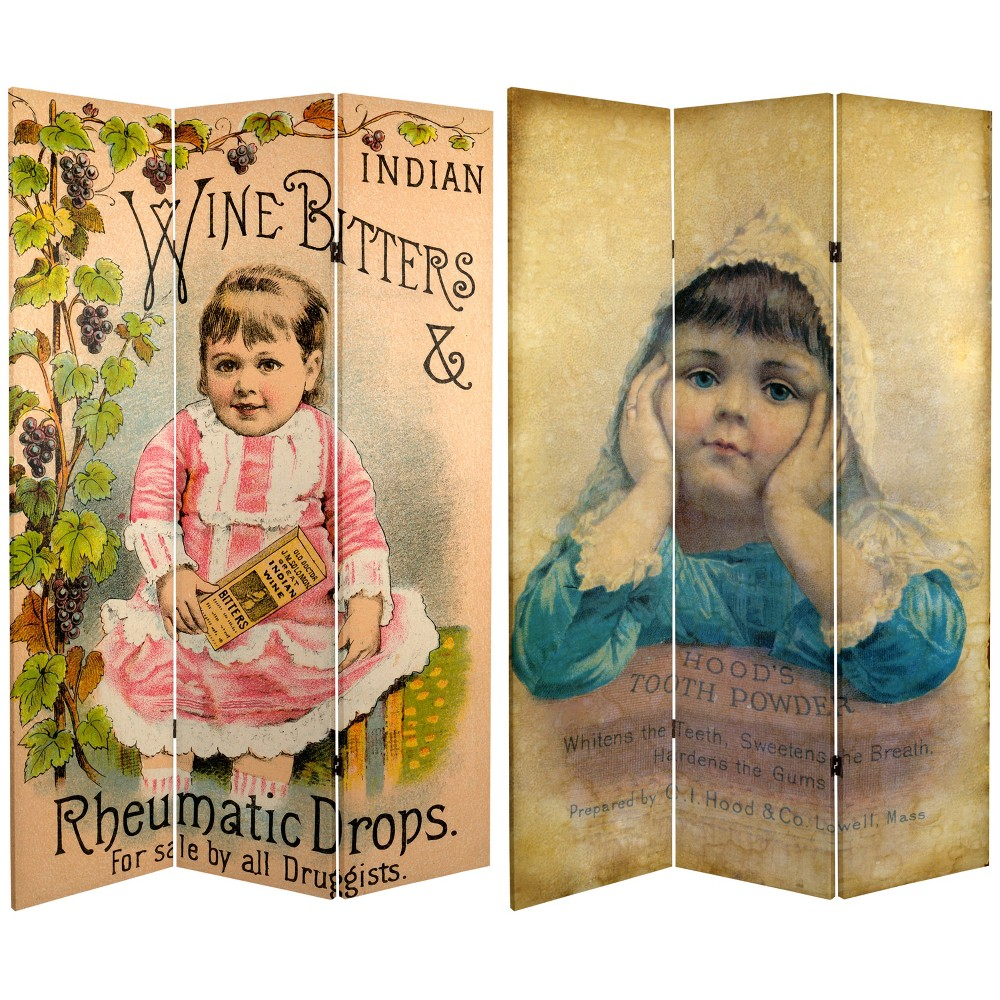 6' Tall Double Sided Vintage Children Canvas Room Divider - Oriental Furniture, Multicolored
