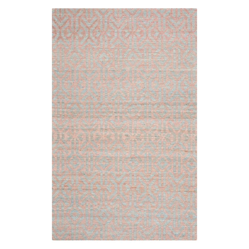 5'X8' Tribal Design Woven Area Rug Blue/Rust - Safavieh