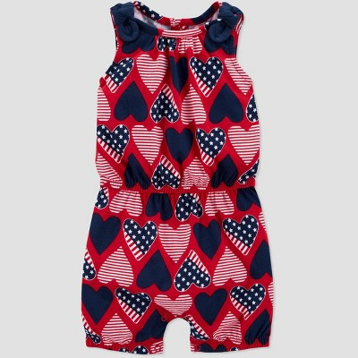 Baby Girls' One Piece Joy 4th of July Heart Romper - Just One You® made by carter's Navy/Red 3M