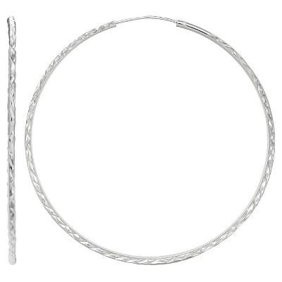 Diamond Cut Endless Hoop Earrings in Sterling Silver - Gray (30mm)