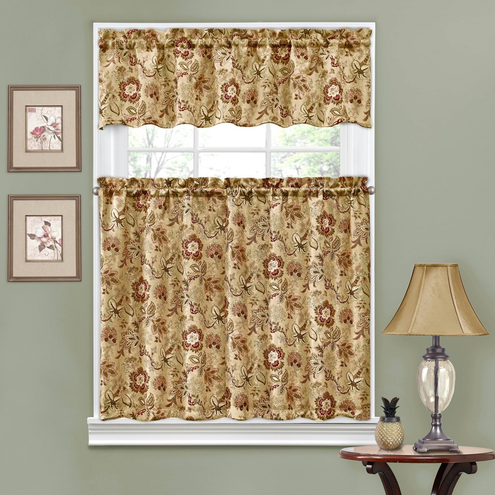 "Image of ""36""""x52"""" Window Curtain Tiers Tan - Traditions by Waverly"""