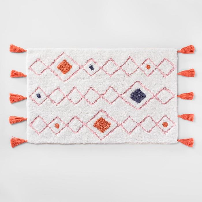 Tasseled Diamond Woven Bath Rug White  - Opalhouse™ - image 1 of 3