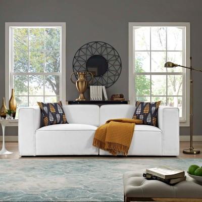 Mingle 2pc Upholstered Fabric Sectional Sofa Set White   Modway : Target