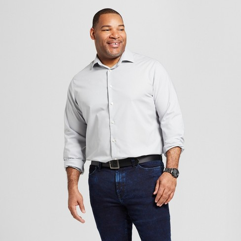 8045975038 Men s Big   Tall Long Sleeve Standard Fit Button-Down Dress Shirt -  Goodfellow   Co™ Masonry Gray   Target