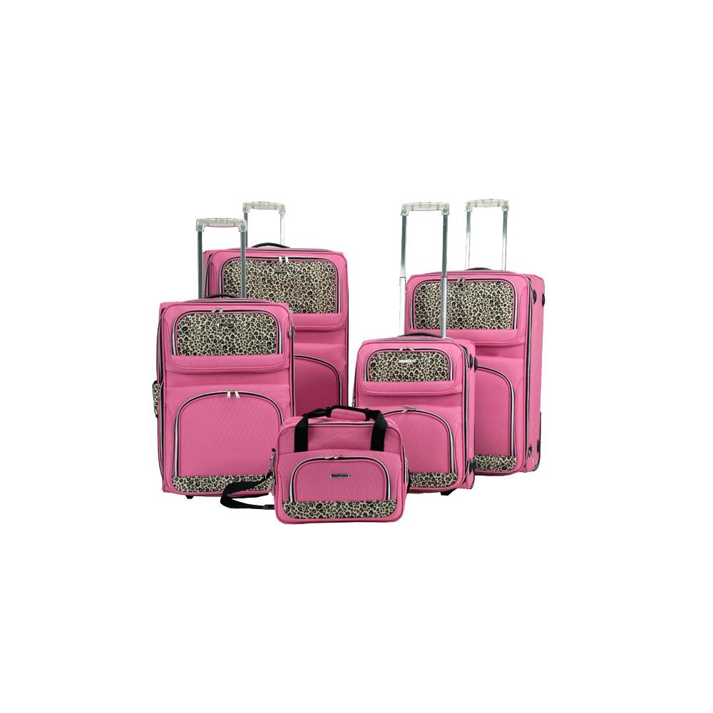 Rockland 5pc Luggage Set - Pink Leopard