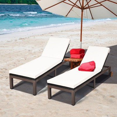 2PC Patio Rattan Lounge Chair Chaise Recliner Back Adjustable W/Wheels Cushioned Turquoise\White