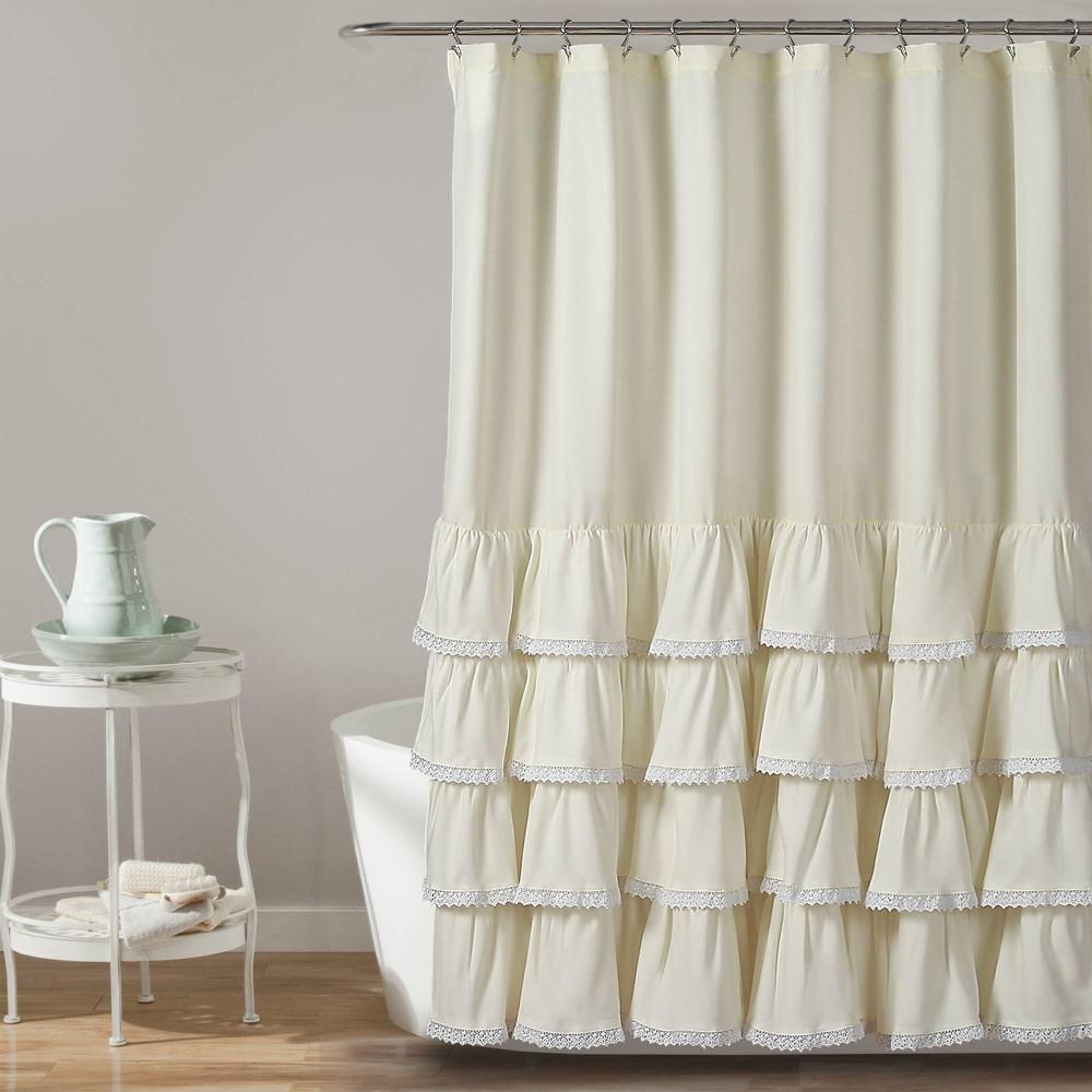 "Image of ""72""""x72"""" Ella Ruffle Detailed Shower Curtain Ivory - Lush Décor"""