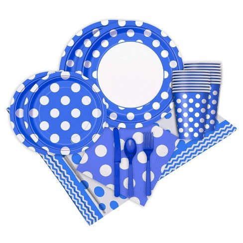 16ct Blue and White Dots Party Pack - image 1 of 1