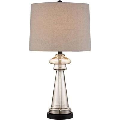 360 Lighting Modern Table Lamp Clear Champagne Gold Glass Taupe Drum Shade Living Room Family Bedroom Bedside Nightstand Office
