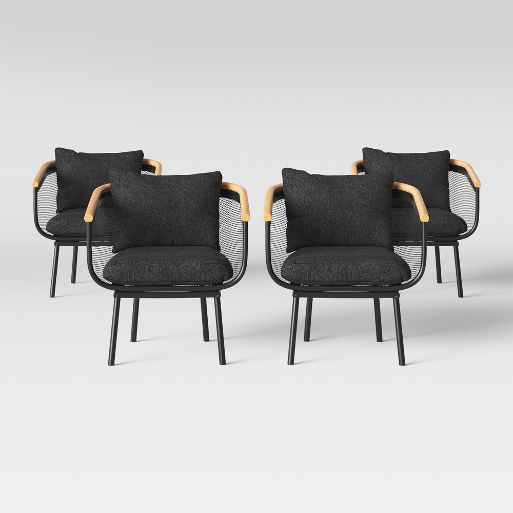 Bangor 4pk Patio Dining Chair Black - Project 62