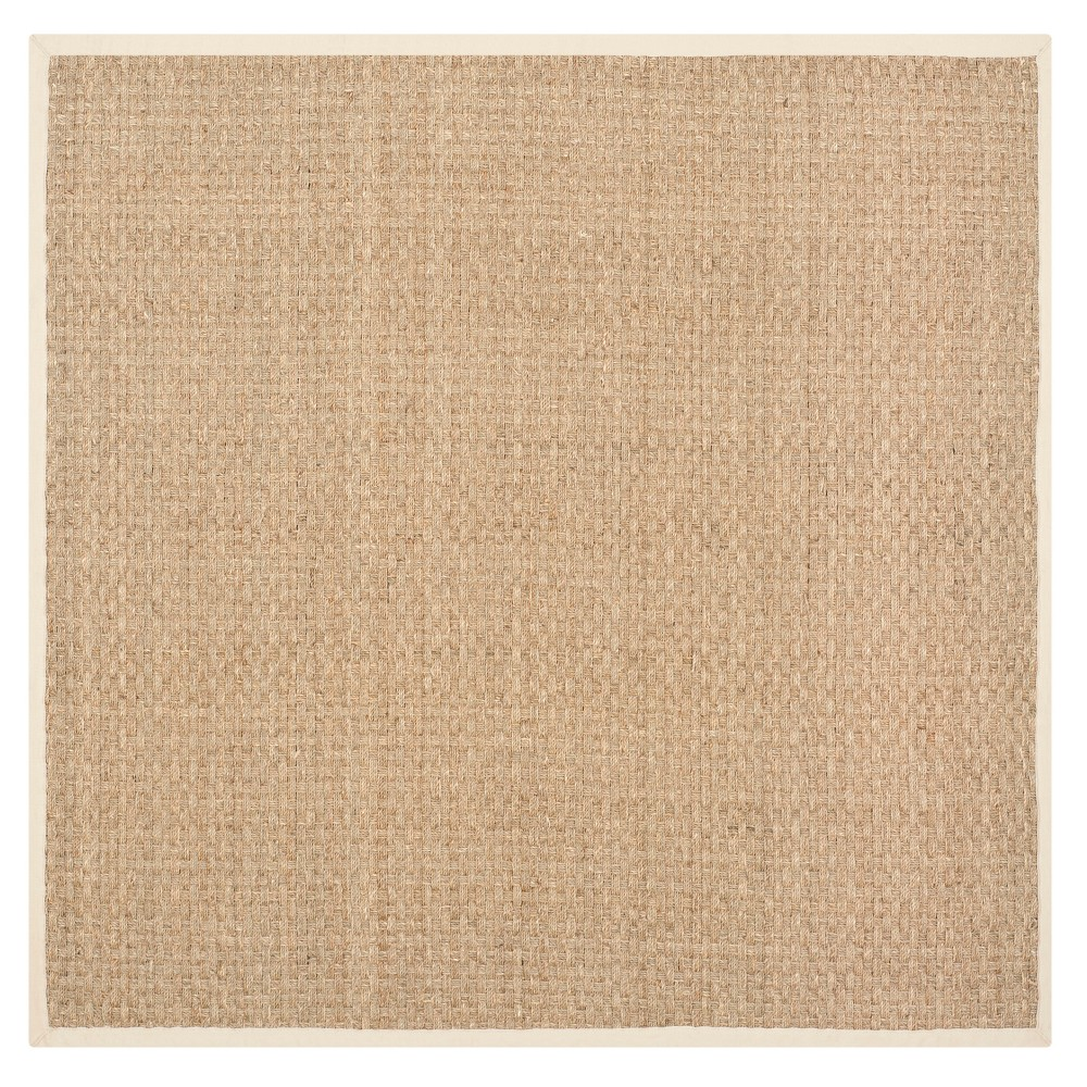 Beige Light Blue Solid Loomed Square Accent Rug 3 Safavieh