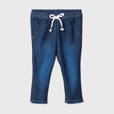 Baby Girls' Raw Edge Hem Long Denim - Cat & Jack™ Medium Wash 24M