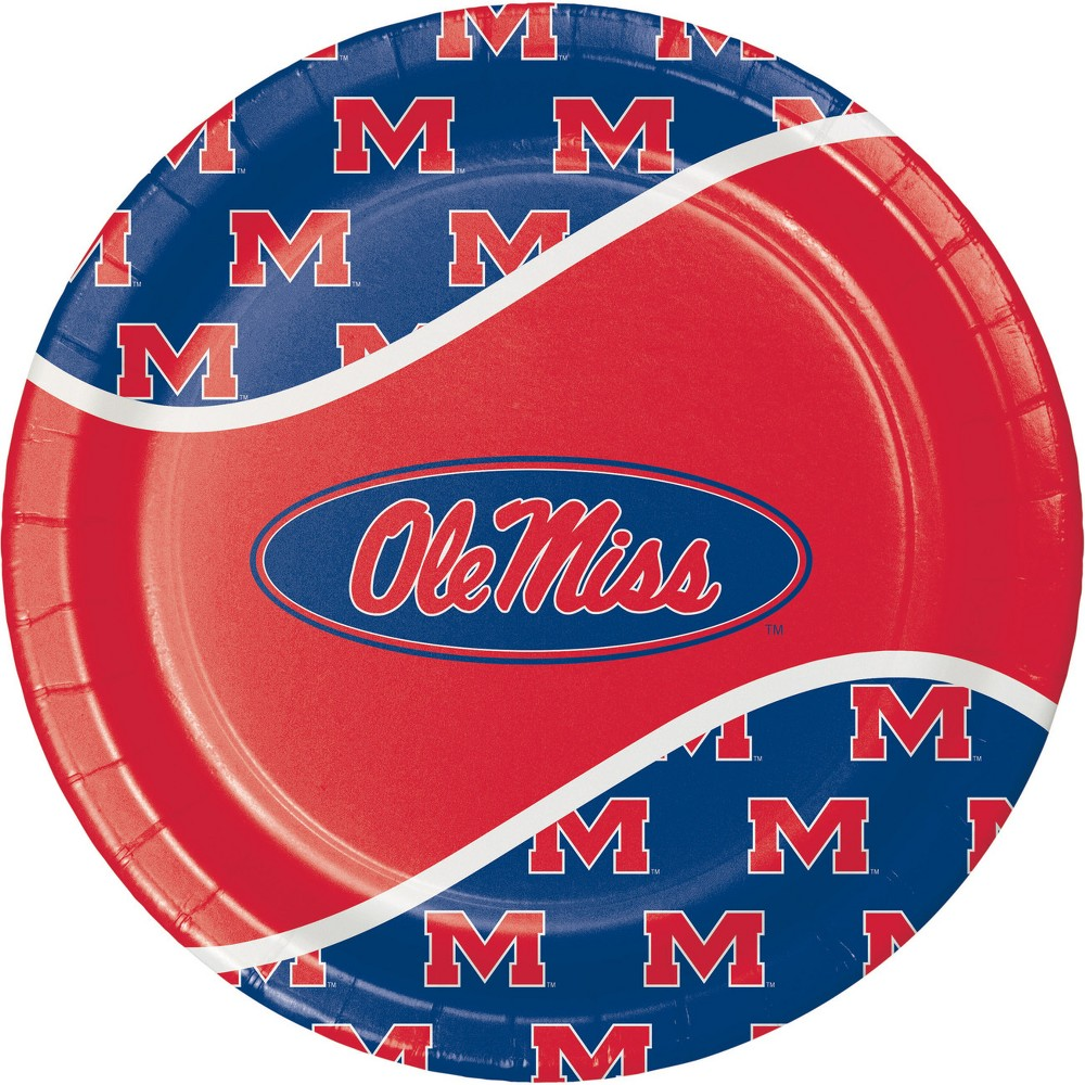 Image of 24ct University of Mississippi Paper Plates Red