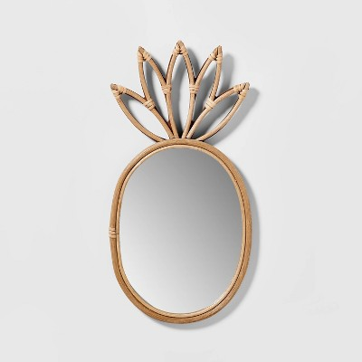 "19""x9"" Pineapple Rattan Mirror - Pillowfort™"