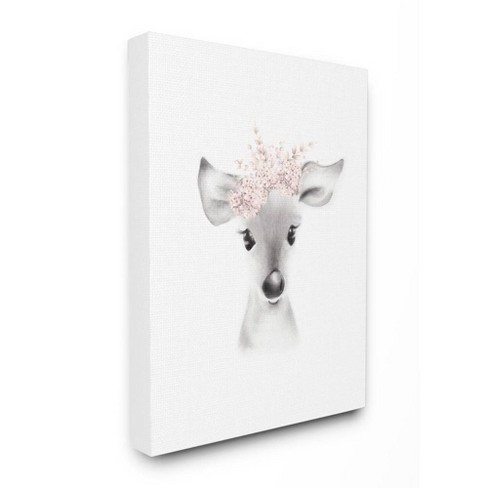 """24""""x1.5""""x30"""" Sketched Fluffy Deer Flowers Oversized Stretched Canvas Wall Art - Stupell Industries - image 1 of 2"""
