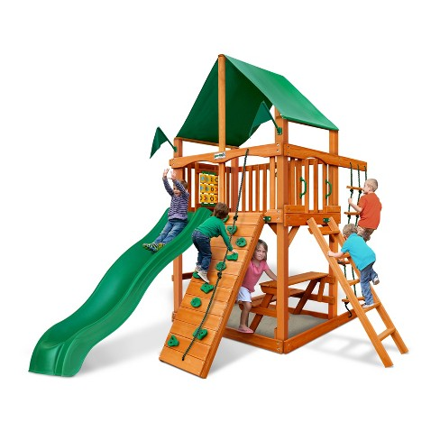 Gorilla Playsets Chateau Tower with Amber and Deluxe Green Vinyl Canopy - image 1 of 3