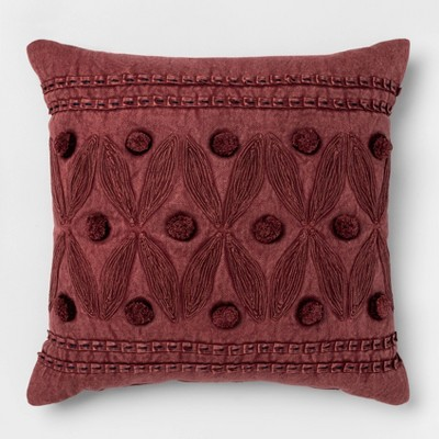 Embroidery & Applique Square Pillow Washed - Opalhouse™