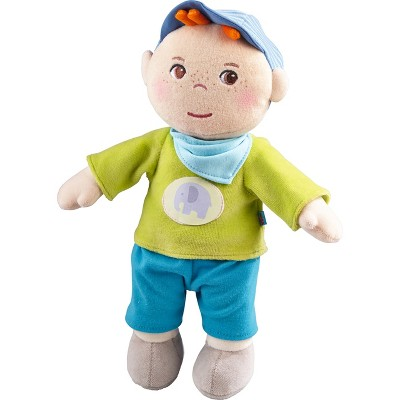 """HABA Snug up Jonas - 11.5"""" Soft Boy Baby Doll with Embroidered Face"""