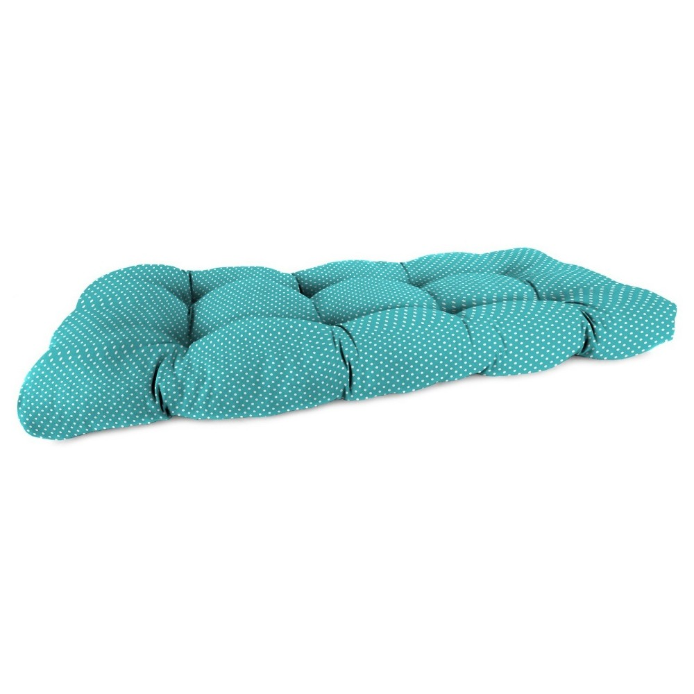 Outdoor Wicker Sette Cushion In Mini Dots Ocean - Jordan Manufacturing, Washed Turquoise
