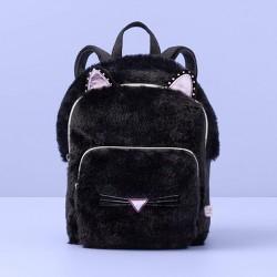 Girls' Faux Fur Cat Mini Backpack - More Than Magic™ Black