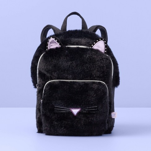 Girls' Faux Fur Cat Mini Backpack - More Than Magic™ Black - image 1 of 2