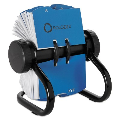 Rolodex Open Rotary Business Card File w/24 Guides Black 67236