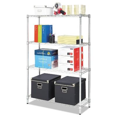 Alera Residential Wire Shelving Four-Shelf 36w x 14d x 54h Silver SW843614SR