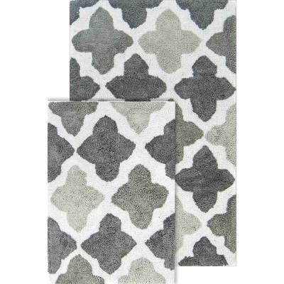 2pc Alloy Moroccan Tiles Bath Rug Set Gray - Chesapeake