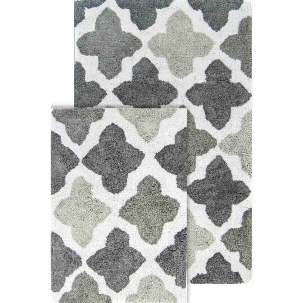 Image of 2pc Alloy Moroccan Tiles Bath Rug Set Gray - Chesapeake