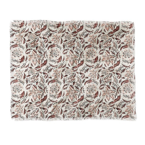 Holli Zollinger Indie Floral Woven Throw Blanket Beige - Deny Designs - image 1 of 2