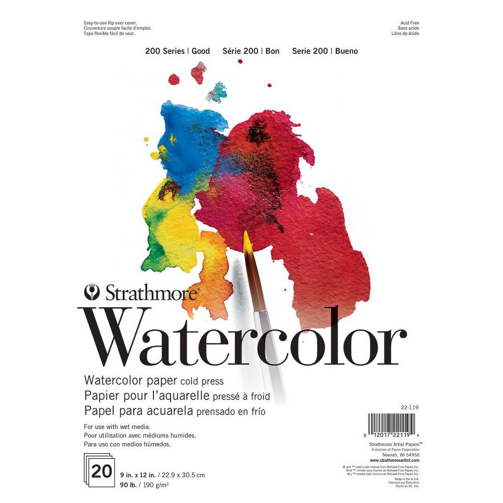 Image of Strathmore 9x12 Watercolor Paper Pad - 20ct, White