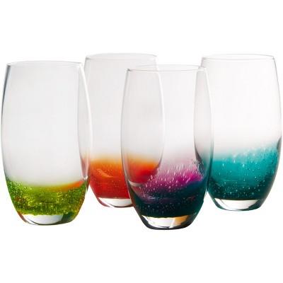 Artland Fizzy Assorted Color 21 Ounce Highball Bar Glass, Set of 4