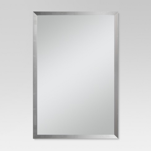 Rectangular Beveled Decorative Wall Mirror Silver - Threshold™ - image 1 of 5