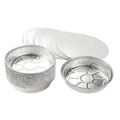 Juvale 25-Pack 9-Inch Round Disposable Aluminum Foil Pans with Lids Pie Pans Tin Plates, 9 x 1.6 in