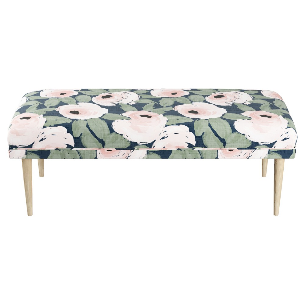 Fullerton Bench - Bloomsbury Rose Blush Navy - Cloth & Co.