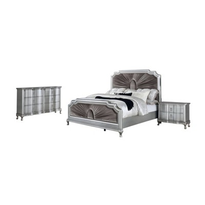 3pc Bentlee Bed Nightstand and Dresser Set Silver/Warm Gray - HOMES: Inside + Out