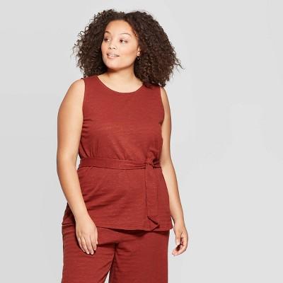 Women's Plus Size Crew Neck Belted Knit Tank Top   Ava &Amp; Viv by Ava & Viv