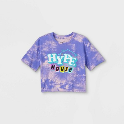 Girls' Hype House Cropped Short Sleeve Graphic T-Shirt - Purple