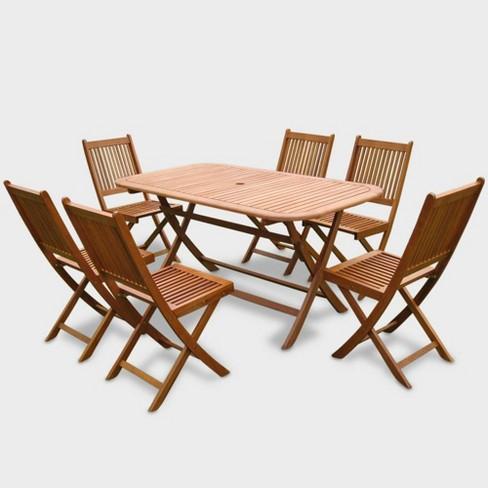 7pc Royal Tahiti Galende Patio Dining Set - Brown - International Caravan - image 1 of 2
